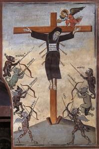 Fresco de un Monje crucificado por las pasiones expuesto en el Monte Athos