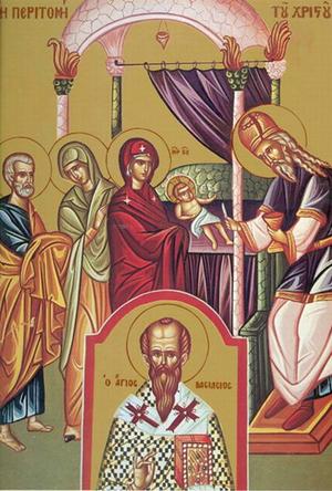 Doble icono de la Fiesta de la Circuncisión de Cristo y San Basilio el Grande