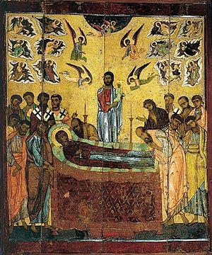 dormición theotokos icono